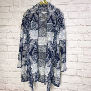 American Eagle Open Front Fringed Navajo Sweater